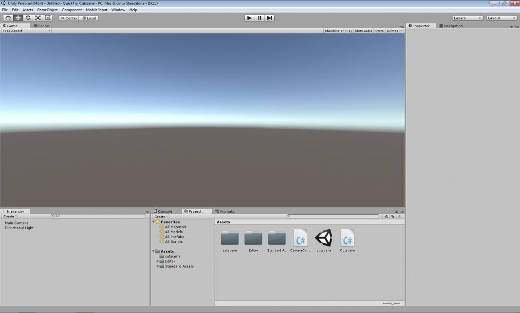 Cały interfejs programu Unity w wersji 5.0
