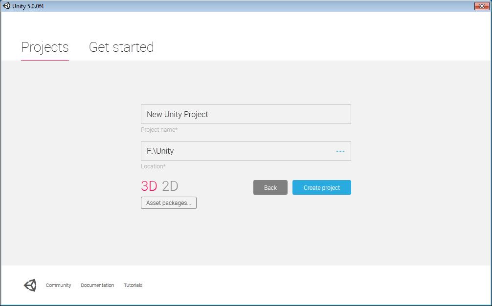 Tworzenie nowego projektu w Unity3d 5.0