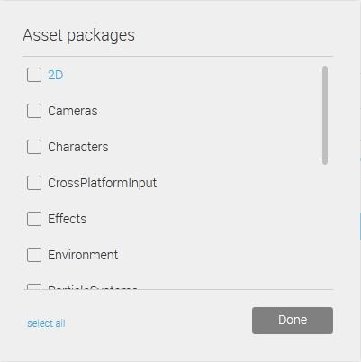 Wybór standardowych assetów w Unity3d 5.0