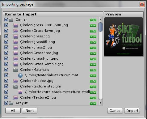 Okienko importu w Unity3d