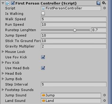 FPS Controller z obiektu First Person Controller w Unity3d 5