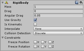 Atrybuty komponentu Rigidbody