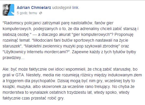 Adrian Chmielarz o przemocy w grach