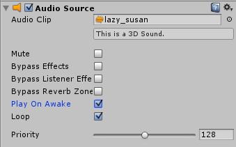 Ustawienia komponentu Audio Source