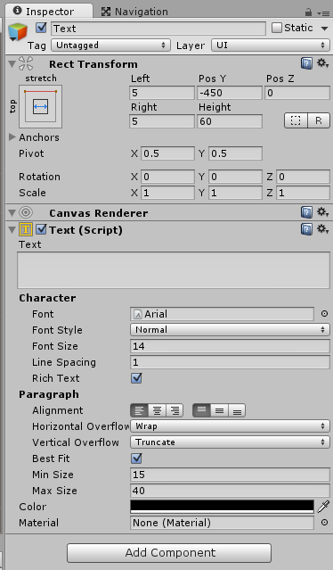 Ustawienia komponentu tekstowego