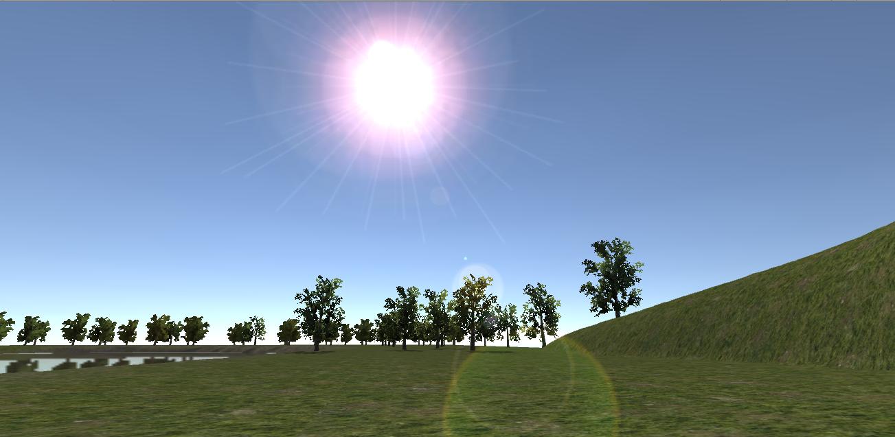 Efekt słońca po dodaniu flary.