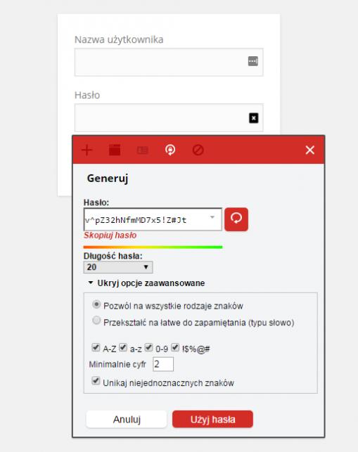 LastPass pozwala na generowanie haseł o różnym poziomie skomplikowania
