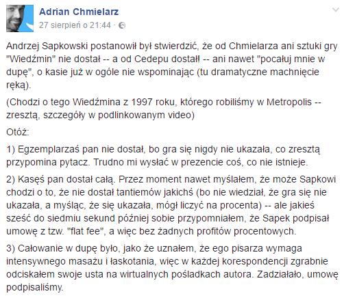 Odpowiedź Adriana Chmielarza