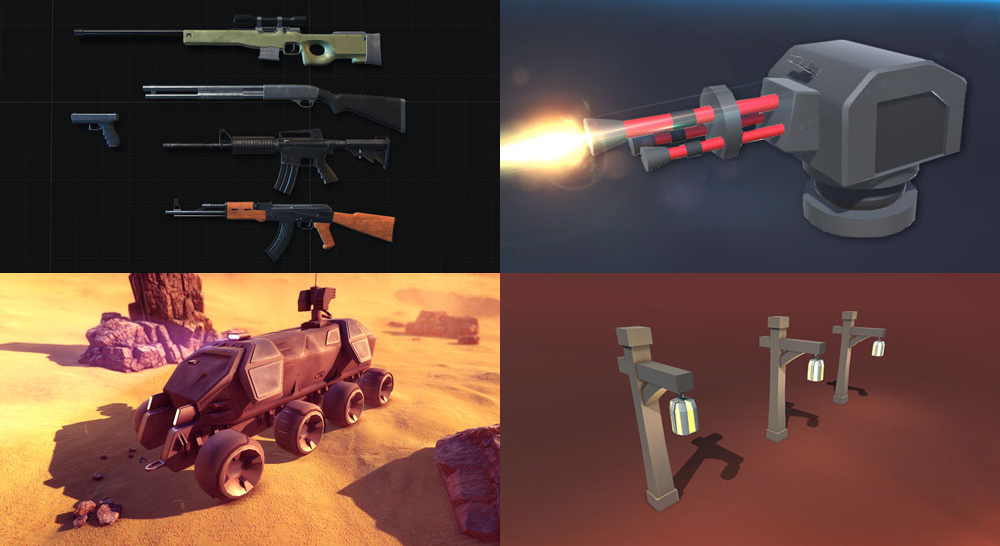 Kilka przykładowych assetów z różnych paczek