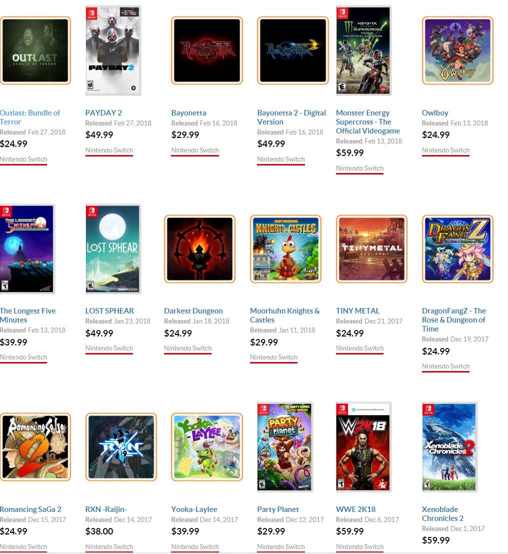 Ostatnio wydane wysokobudżetowe gry na Nintendo Switch