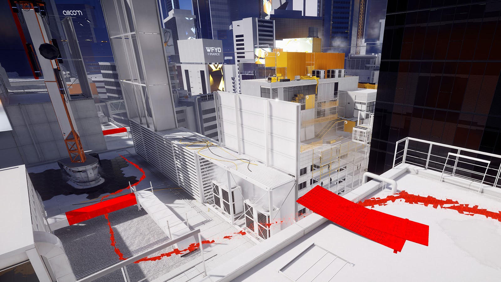 Mirror's Edge oznacza interaktywne elementy czerwonym kolorem. Źródło: https://thehive-site.blogspot.com